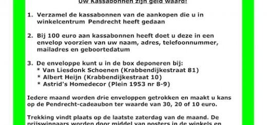 Kassabonnenactie van Winkelcentrum Pendrecht
